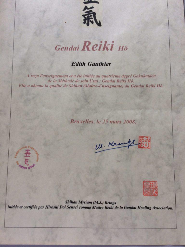 Edith Gauthier - Certificat Reiki
